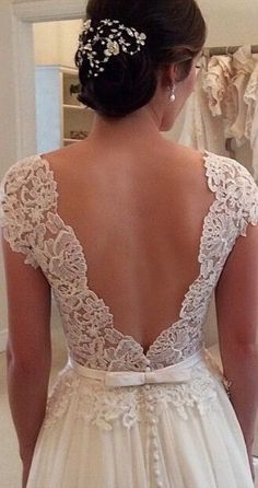 Beautiful lace wedding dress back details.