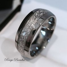 Mens Tungsten Wedding Band, Meteorite Inlay Ring, His Engagement Ring… - mens rose gold jewelry, jewelry mens necklaces, mens fashion jewelry Meteorite Wedding Band, Tungsten Carbide Wedding Bands, Mens Wedding Rings Tungsten, Black Tungsten Rings, His And Her Engagement Rings, Engagement Gifts, Men Engagement Rings, Wedding Engagement, His And Her Wedding Rings