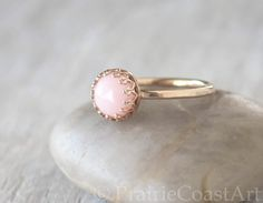 Gold Pink Opal Ring in 14k Yellow Gold-Filled - Opal Stacking Ring - Handcrafted Artisan Ring - October Birthstone Pink Gemstone by PrairieCoastArt on Etsy https://www.etsy.com/listing/524041489/gold-pink-opal-ring-in-14k-yellow-gold