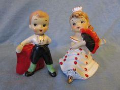 Vintage Cute Matador y Senorita Salt and Pepper Shakers - 1950s