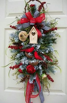 TimelessFloralBtq on Etsy Christmas Front Doors, Christmas Door Wreaths, Christmas Swags, Christmas Door Decorations, Holiday Wreaths, Rustic Christmas, Christmas Ornaments, Christmas Arrangements, Diy Wreath