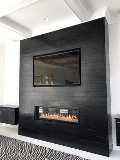 Ebony Planc Large Format Tile Modern Fireplace