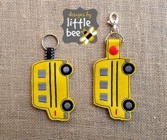 school bus key fob AND snap tab keychain 4x4 hoop friendly embroidery design sew exp pes +more Instant Download! bean stitch, monogram