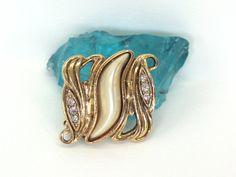 Elegant Gold Pin Rhinestone Gold Pin Pearl Gold by MicheleACaron