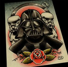 Darth Vader and Storm Troopers Art Print by ParlorTattooPrints, $30.00