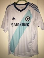 Chelsea Soccer Jersey FC Football Club Samsung Adidas white shirt size M