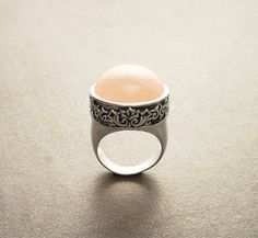 Victorian Vintage Ring Silver with Rose Quartz  by KRAMIKE on Etsy