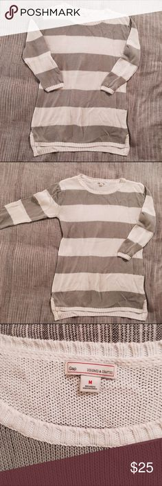 Gap stripe sweater Cute casual grey and white stripe with little slurs at side seams! Fits like a true medium! GAP Sweaters Crew & Scoop Necks