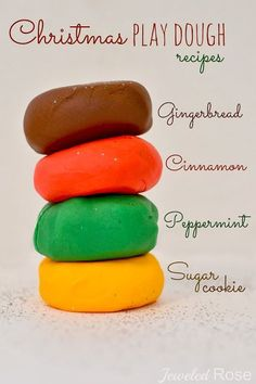 NO COOK Christmas Play Dough Recipes {You only need two base ingredients to make these amazing play dough varieties}