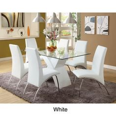78db1351e1c Chambers 7-piece Contemporary Glass Top Dining Set