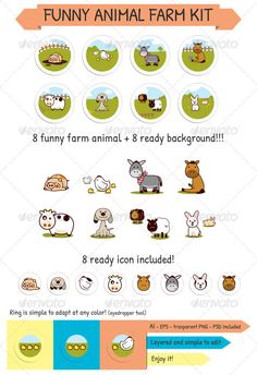 Funny Animal Farm Kit — Photoshop PSD #pig #mascotte • Available here → https://graphicriver.net/item/funny-animal-farm-kit/1197994?ref=pxcr