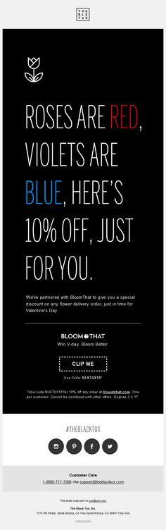 Valentine's day special offer with discount from @theblacktux