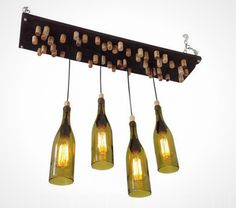 DIY this wine bottle chandelier for your bar.