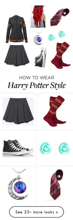 """Harry Potter uniform"" by kylijordan on Polyvore featuring Converse, Monsoon, Zara, harrypotter, hogwarts and Gryffindor"
