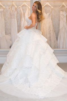 Fitness star Anna Victoria tried on brand-new Pnina Tornai wedding gowns for us at Kleinfeld, including this super voluminous ballgown style