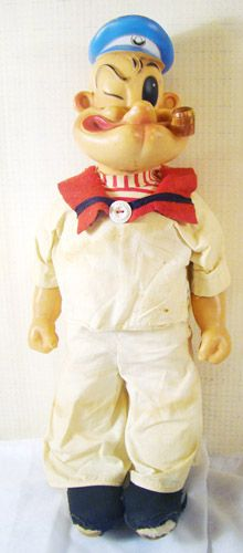 """Vintage 1958 Large 18"""" Gund POPEYE Doll! Soft cloth stuffed body, rubber head, arms, hands. Produced by Gund. ©King Features Syndicate. Tag sill in place on his leg. 18"""" tall [click for details]"""