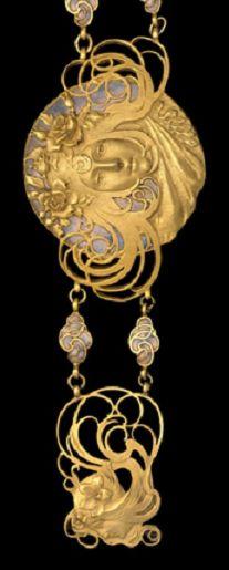 An Art Nouveau silver, enamel and gilding belt, by Piel Frères, circa 1899-1900.