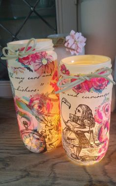 Alice in Wonderland Shabby Chic/Vintage Decorative Jar/Tealight holder