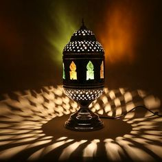 Moroccan candle lantern mini 33cm moroccan table lamp moroccan bazaar nickel table lamp aloadofball Image collections