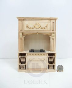 unfinished dollhouse furniture. Miniature Scale French Provincial Glamorous Stove Cabinet [Unpainted/ Unfinished] For Doll House Unfinished Dollhouse Furniture F