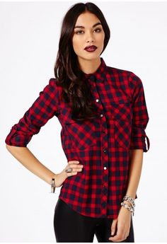 Missguided - Crocifissa Checked Shirt In Red