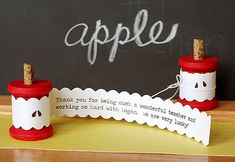 teacher apple card made from a wooden spool - too clever!