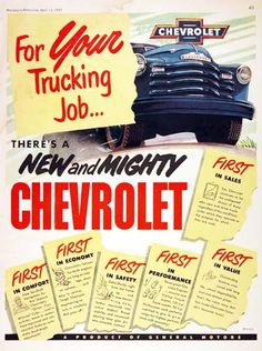 For your trucking job… there's a new and… 1951 Chevrolet Trucks vintage ad. For your trucking job… there's a new and mighty Chevrolet. First in sales, comfort, economy, safety, performance and value. 1951 Chevy Truck, Chevy Pickup Trucks, Classic Chevy Trucks, Gm Trucks, Chevrolet Trucks, Classic Cars, Chevrolet 3100, Chevy Stepside, Chevy Pickups