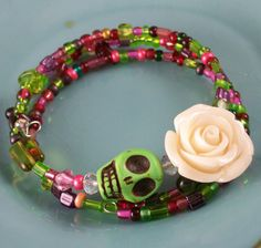 Would leave the skull off.......pinned because I love the greens/pinks/reds.........