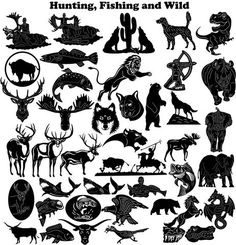 Hunting, Fishing and Wild - DXF files Cut Ready CNC Designs - DXFforCNC.com,  It is magic elements of your garden and home decor. These files contain collection of 41 hunting, fishing and wild animals (Lion, wolf, horse, elephant trunk, roadrunner, rhino, wolf, deer, moose, bull, base fish, crock, dog, dear, eagle, dragon, longhorn) illustrated in decorative view and delivered in dxf files cut ready cnc designs. All our dxf designs are ready for most CNC cutting machine