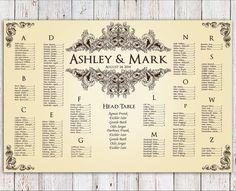 Wedding Seating Chart - RUSH SERVICE - Vintage Ornament Wedding Seating Chart Reception Poster - Digital Printable File HBC34