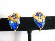 Miriam Haskell Earrings Designer Signed Blue by FindCharlotte