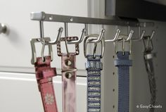Tip of the Day: Slide-out belt racks aren't just for belts -use them to hang long necklaces to keep them from tangling, or hang scarves from them.