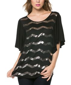 This Black & Silver Chevron Drape-Sleeve Top - Plus is perfect! #zulilyfinds