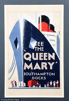 Vintage Travel Posters, Vintage Postcards, Queen Mary Cruise, Travel Ads, Art Deco Posters, Poster Ads, Travel Illustration, Ship Art, Mary 1