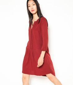 Robe plastron brodé rouge bordeaux Camaïeu 2016