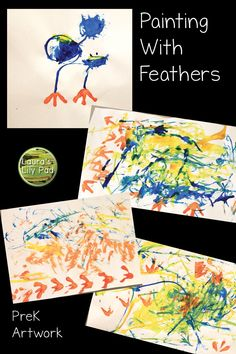 Feather Painting and other bird related arts and crafts in preschool Bird Crafts Preschool, Preschool Themes, Kindergarten Activities, Spring Preschool Theme, Preschool Teachers, Dementia Activities, Physical Activities, Blue Jay, Summer Crafts For Toddlers