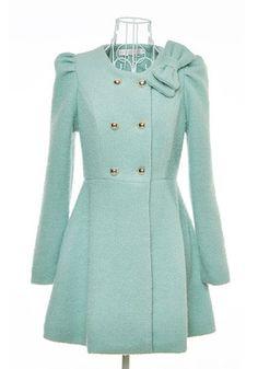 Blue Ruffle Bow Cap Sleeve Wool Coat