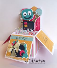 Handmade card by DT member Marleen with Collectables Robot (COL1403) from Marianne Design