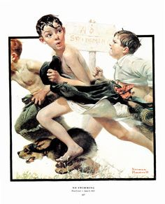 No Swimming Post Cover painted by Norman Rockwell in 1921. The page is approx. 11 1/2 inches wide and 15 inches tall. by Blossomprintsandmore on Etsy
