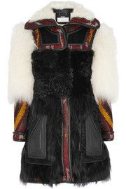 ChloéLeather-trimmed shearling and wool-blend jacquard coat