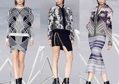 Hervé Léger By Max Azria - Pre Fall 2014-Lace Prints – High Contrast Pattern – Linear Pattern Plays – Optical and Sculptured Constructions – Ombré Stripe – Gradient Patterning – Sym...