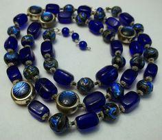 "venetian bead jewelry | Art Deco Peacock Eye Venetian Foil Bead Necklace Vintage Glass 30"" LO ..."