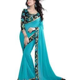 Buy blue plain pure georgette saree with blouse georgette-saree online