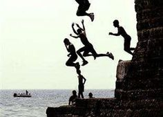people, clif, jump