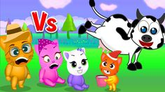 Finger Family Funny Cats   Funny Cats got kicked by cow Finger Family Rhyme For Kids