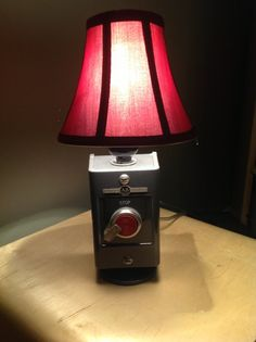 Vintage industrial push button desk or table lamp by BossLamps, $75.00