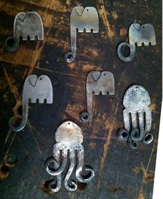 Elephant and Octopus Recycled Fork Pendants. $20.00, via Etsy.