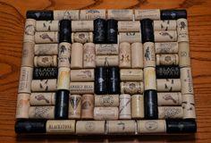 Wine cork trivet with painted black contrast corks