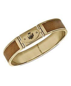 Fossil Bracelet, Gold-Tone Luggage Leather Turnlock Bracelet