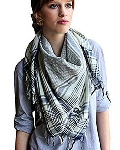 Anika Dali Women's Addison Shemagh Tactical Desert Scarf in Natural Cotton at Amazon Women's Clothing store: Fashion Scarves